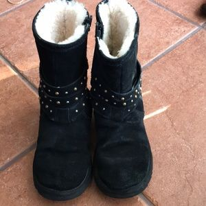 UGG BLACK LEATHER BOOTS SIZE 5
